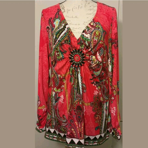 a715d2822a0a2 ECI Tops - Red long sleeve paisly Blouse woth beads